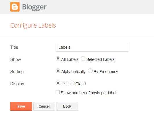 Labels widget settings