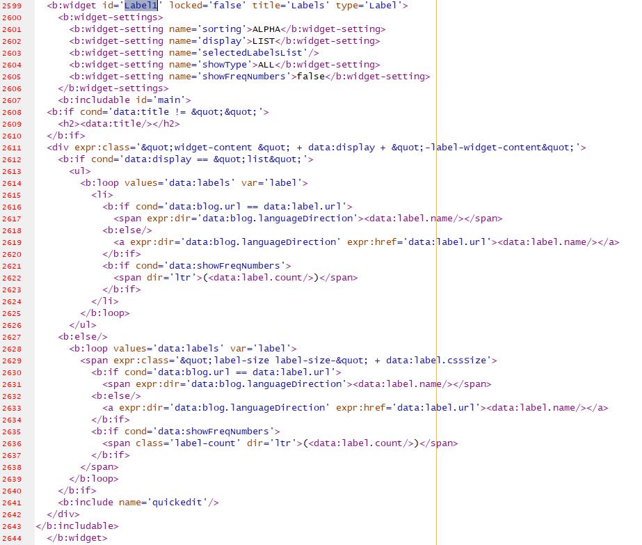 Blogger labels widget template code
